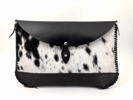 Hair on Hide Clutch – Black - Front