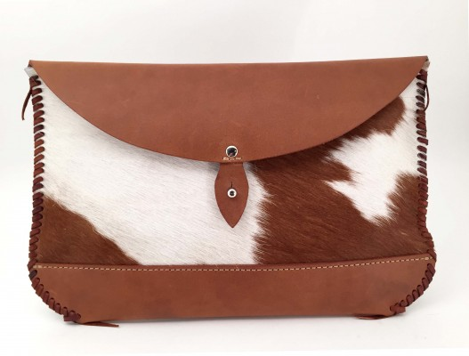 Hair on Hide Clutch – Brown - Front