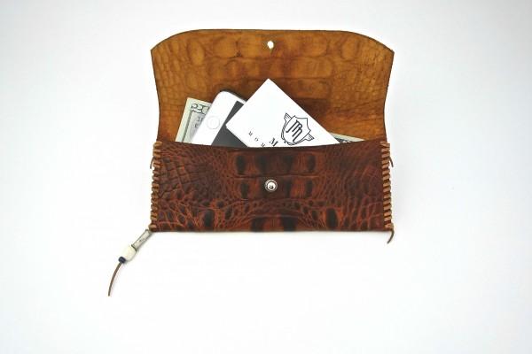 Embossed Croc Wallets - Antique Brown - Open