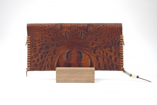 Embossed Croc Wallets - Antique Brown - Back