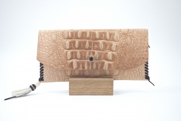 Embossed Croc Wallets – Natural - Front